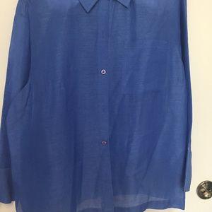 Coldwater Creek Silk/Linen Royal Blue Blouse